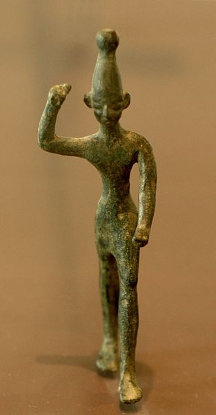 Baal, right arm raised. Bronze figurine, 14th-12th centuries, found in Ras Shamra (ancient Ugarit).