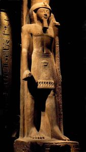 "Statue of king Seti II with ""Was septre""(Set-staff) from the Egyptian Museum of Turin, Italy"