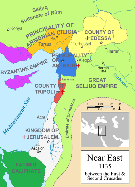 A political map of the w:en:Near East in 1135 CE. Crusader states are marked with a red cross.