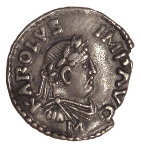 a Charlemagne denier coined in Frankfurt from 812 to 814 nscription KAROLVS IMP AVG (Karolus Imperator Augustus)