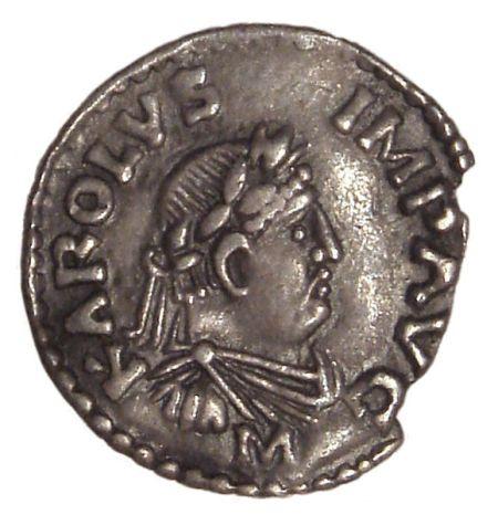 a Charlemagne denier coined in Frankfurt from 812 to 814 nscription KAROLVS IMP AVG (Karolus Imperator Augustus)