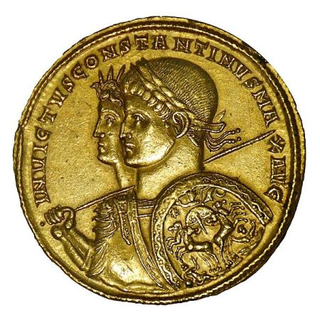 Gold multiple medallion minted in Ticinum, 313 AD. Wt. 39.79 g. Busts of Constantine with Sol Invictus