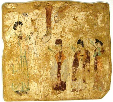 Khocho, Nestorian Temple, 683–770 CE. Wall painting, 61 × 67 cm Nestorian priests in a procession on Palm Sunday, in a 7th- or 8th-century wall painting from a Nestorian church in Qocho, China