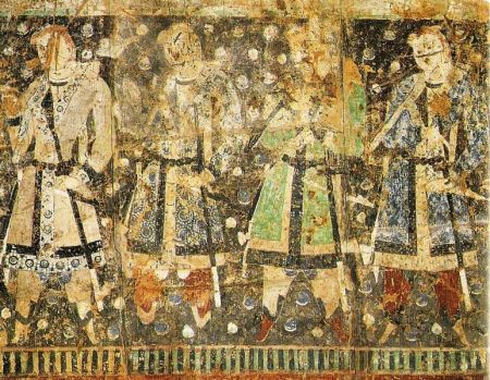 "Wall painting of ""Tocharian Princes"" from Cave of the Sixteen Sword-Bearers"