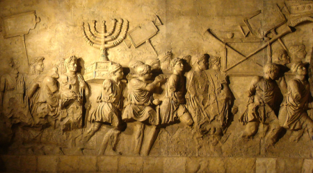 Roman triumphal procession with spoils from the Temple, depicted on the inside wall of the Arch of Titus in Rome