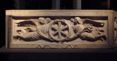 "Claimed as a ""Christian"" sarcophagus. BUT bears NO christian symbols. We do see the SUN symbol displayed prominently"
