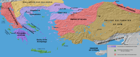 he Latin Empire and the Partition of the Byzantine Empire after the 4th crusade, c. 1204; borders are approximate