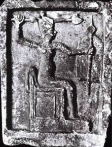 Canaanite Anat with Egyptian crown and arm raised with septre