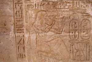 Chancellor Bay on the door jamb of the Amada temple, Nubia, shown adoring the cartouche of Siptah