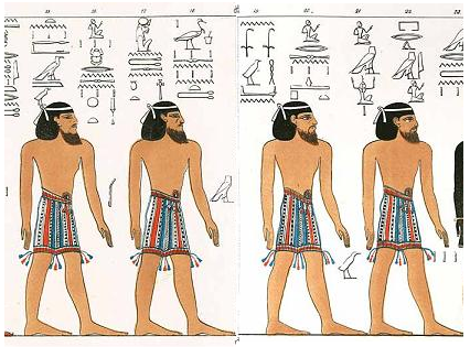 "Canaanites as they were portrayted in the Ancient Egyptian ""Book of Gates"", dated to the 13th Century BCE."
