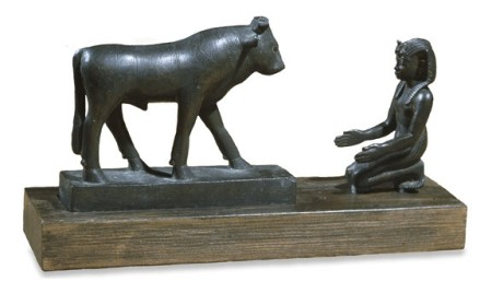 Egyptian King Kneeling Before the Apis Bull