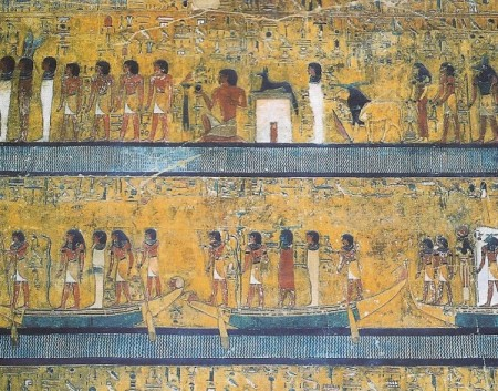 Setu I funeral scene. With Amen the ram(Khumn) ,Set and,the rod of god,and the Ark of the Covenant. Also a horned(divine knowledge) diefed blue corpse ,on its way to the afterlife.