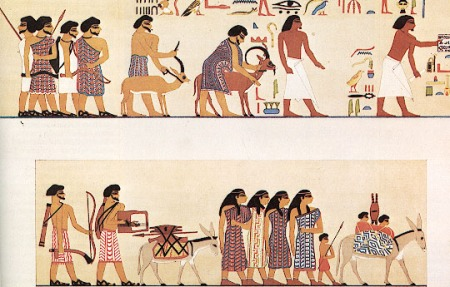 A group of people wearing coats of many colors using red, purple and blue dye and labled Hyksos entering egypt c 1900 BC from the tomb of a 12th dynasty king Khnumhotep II at beni hasan.