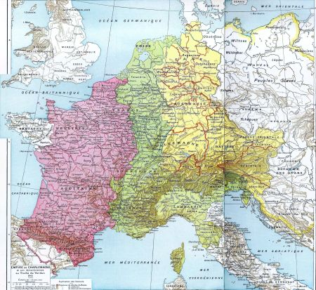 The parting of Carolingian Empire by the Treaty of Verdun in 843. Pink area indicates West Francia.Green area indicates Middle Francia.Yellow area indicates East Francia.