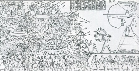The Battle of the Delta. Relief from the mortuary temple of Ramesses III at Medinet Habu.