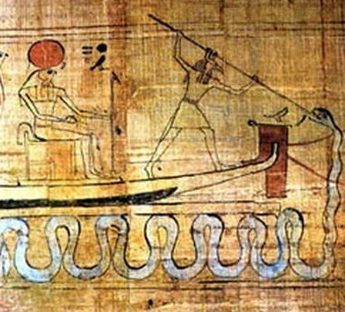 Set Battles Apep the snake ,defending Ra's solar boat
