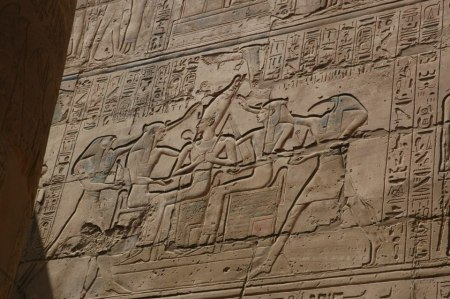 from the Great temple of Amen-Ra, Ipet-Sut.Ramoses II being crowned by Thoth (with the Red Crown) and Horus (with the White Crown)