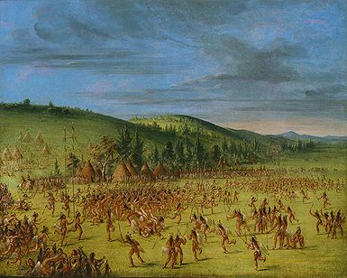 """An Indian Ball-Play"" by George Catlin, circa 1846-1850, Choctaw Indians. Native American ball games often involved hundreds of players"