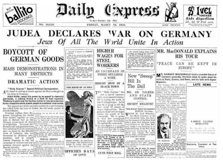 Zionists declare war on Germeny in 1933