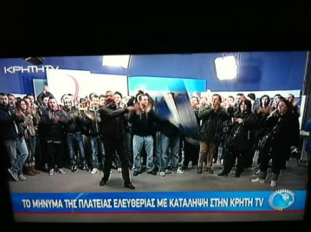 Greek Protestors Storm TV station