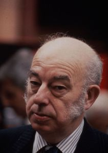 In attendance: Rhodes Boyson at the Conservative party conference in Blackpool, 1987