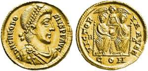Milan coin before 380AD 2 Emperors with the Imperial cult angel and halos